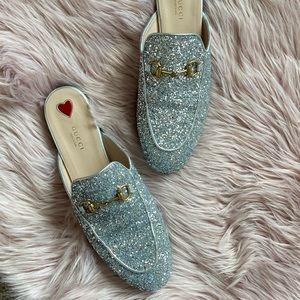 Gucci Shoes - Gucci Silver Glitter Princetown Slipper Slides